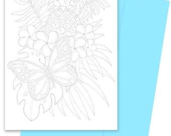 A5 Colouring Card- Tropical Treat