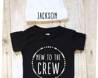 Newborn Boy Outfit-Newborn Bodysuit and Hat-Newborn Outfit-New to the Crew 2 Piece Outfit-Personalized Baby Outfit- Bodysuit-Monogram Hat