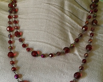 """Cranberry /Red 18"""" long beaded necklace"""