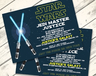 Star Wars Invitation - Star Wars Birthday Party,  Star Wars Party, Blue Lightsaber   Editable Text - DIY Instant Download PDF Printable