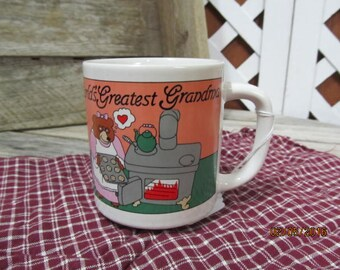 Vintage Coffee Cup Mug World's Greatest Grandma!  Grandmother Grandma Mother's day