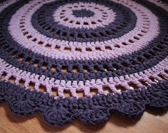 Round Crochet Scarlet Purple Rug Mat for your Home