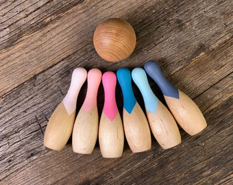 Bowling Pins, Bowling Party Favors, Toddler Birthday Gift, Wood Toys, Wood Games, Montessori Toys, Waldorf Toys, Eco Friendly Toys
