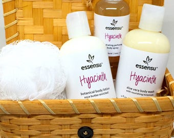 Hyacinth Bath and Body 5-Piece Spa Gift Basket Set | Lotion , Body Wash , Perfume Spray , Pouf | Gift For Her | Vegan | Or Customize Scent