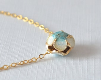 Cloisonne Necklace, Gold Filled, Flower Jewelry, Floral Enamel Bead, Aqua Blue and White, Spring Wedding Jewelry, Free Shipping