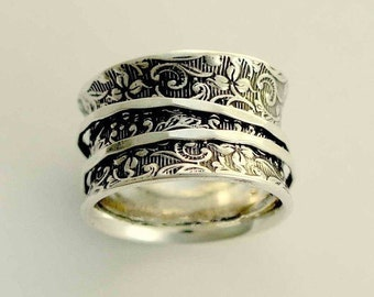 Silver Wedding Band, sterling silver band, spinners ring, wide silver band, silver filigree ring, stacking rings - A way of life 2, R1209AS