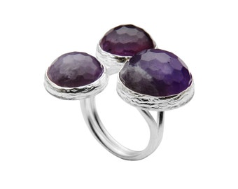 Amethyst Silver Ring with three stones, statement ring, purple silver ring, three stone ring, boho ring, big amethyst ring