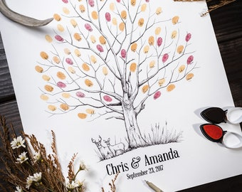 Fingerprint Tree custom wedding guestbook - Original thumbprint guest book alternative (Small Size Fall Tree) includes 1 ink pad!!