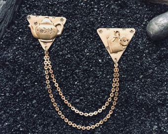 Tea + Teapot collar chains ~ sweater clips