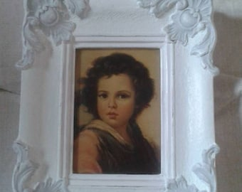 little dove grey and white distressed frame