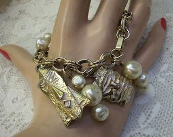 Flash Sale...Vintage Tribal Masks and Pearl Dangle Charm Bracelet...Gold Tone Bracelet...Unique Boho Bracelet