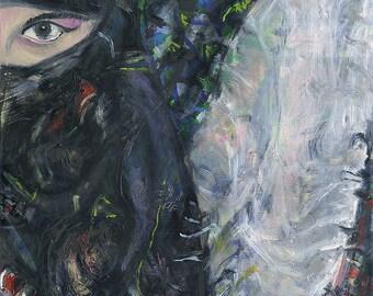 Original Art Painting, Oil on canvas Face Portrait, Arab Motive, Eyes Art - 24x28 inches (60x70 cm)