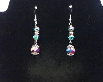 Multi color reflective earrings