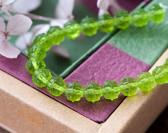 Vintage Czech Beads Old Translucent Peridot Green Glass Beads 7mm 1950s