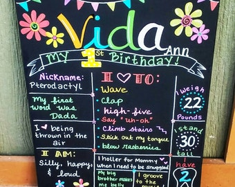 Hand Painted Personalized First Birthday Board, Chalkboard Sign, Birthday Sign. 16x20 inch stretched canvas. Customize any way!