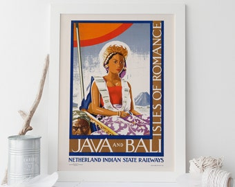 BALI TRAVEL POSTER Indonesia Travel Poster Java Travel Poster Frame-Ready Ikea Ribba Size Vintage Travel Poster
