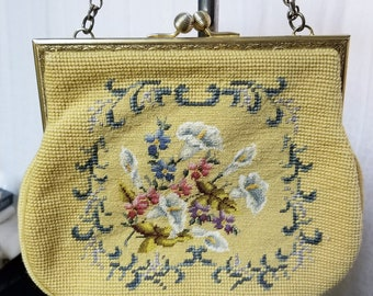 Vintage Ladies Needlepoint Yellow Purse