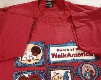 March of Dimes T-Shirt 25th Anniversary 1995 Mens L/XL Walk America Atlanta Georgia USA Made Healthier Babies Fruit of the Loom