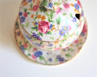 Vintage Royal Winton Grimmacher England Sugar Bowl  Saucer Chintz Sugar Bowl