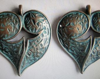 Greek bronze verdigris hearts