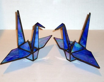 RESERVED FOR CHERI - 2  Stained Glass Origami Peace Cranes, Symbol of Peace, Prosperity, Fidelity, Longevity