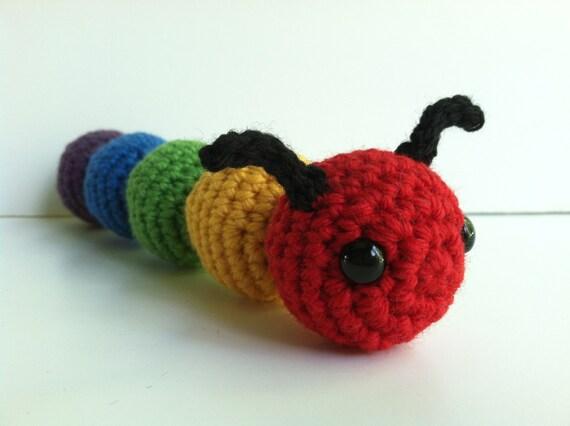 Amigurumi Caterpillar : Amigurumi crochet caterpillar plush toy rainbow kawaii plush