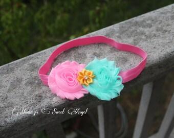Pink and white chiffon flower headband, christmas headband, Valentine headband, birthday headband, baby photo prop