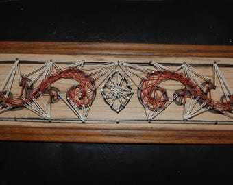 Engraved Oak~Paisley Floral Pattern String Art Decorative wall Hanging