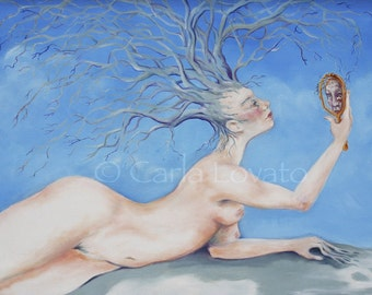 Goddess of Trees, Tree Spirit, Mother Earth, Oil Painting, Giclee Print, Nude woman,  nude figure,  Mother Nature