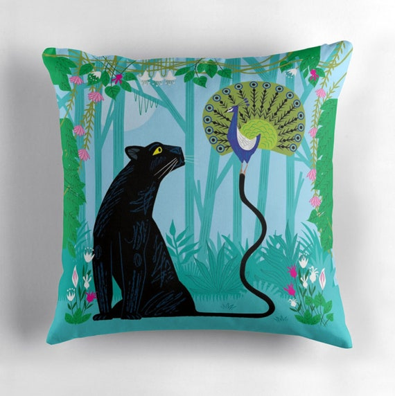 The Peacock and The Panther - throw pillow cover including insert - children's nursery decor by Oliver Lake iOTA iLLUSTRATION