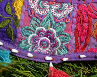 CUSHION COVER handmade Indian embroidered PATCHWORK / bohemian homewares gypsy boho style home decor / picnic decorative purple