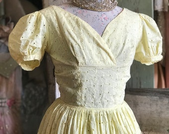 Vintage Yellow Julie Miller Eyelet Lace Mid Century Dress H104