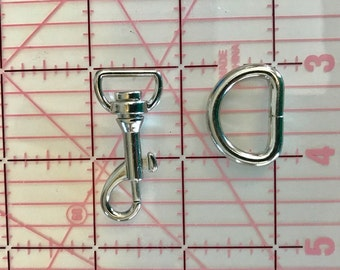 10 Pieces Each - 1/2  inch  Swivel Hooks  and 10 - 3/4  Inch D-Rings  Purse  Leash Strap Hardware LanyardHardware DHardware, Sewing Supplies