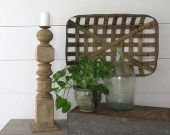 Reclaimed Wood Table Leg Candle Holder, Vintage Pillar Candleholder, Rustic Decor, Tall Candle Holder