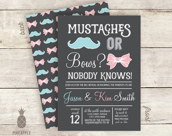 Mustaches or Bows Gender Reveal Invitation Design