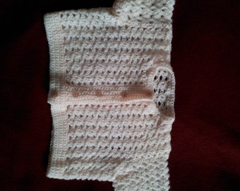 Hand crochet childs cardigan in pale pink, size 28 inch