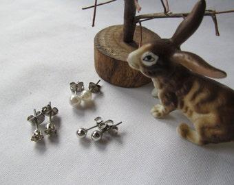 Minimalist Simplicity 3 Pr Earrings Silver Diamond Stud Earrings April Birthstone Earrings Silver Ball earrings Minimalist Earrings