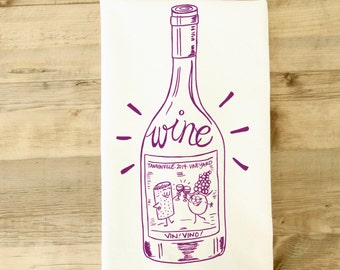 Silly Wine Cotton Tea Towel gift basket wine lover gift Grapes Cork Retro with rainbow stripes