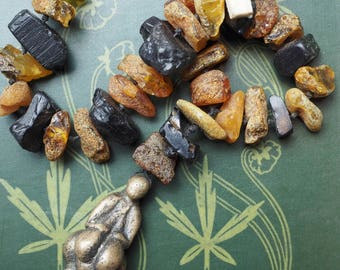 Amber and Whitby Jet Witches Necklace - With Bronze Venus of Lespugue Goddess - Pagan, Wicca, Witchcraft, Ritual
