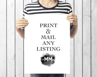 Printing Services  Add-On, Physical Print, Print and Mail,  Print and Ship, I will print the design and send it via USPS to your front door