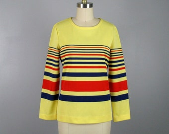 Vintage 1960s MOD Striped Knit Tunic 60s Long Sleeve Top by Bodin Knits Size M