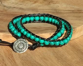 Turquoise Leather Wrap Bracelet, Black Leather, Double Wrap Bracelet, Chan Luu Style, womens bracelet, mens bracelet, Arcturus Creations