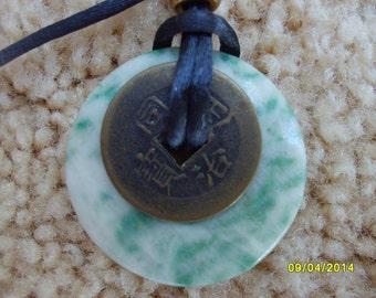 Jade Lifesaver Pendant, Jade Necklace, Green Jade, Ciricular Pendant, Jade Jewelry
