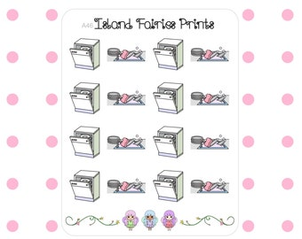 Dishes Dishwasher Clean Hand Drawn Planner Stickers A46