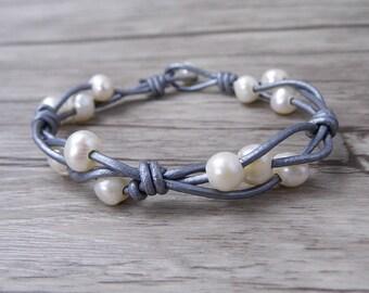 Real pearl bracelet Leather Wrap Bracelet Boho Pearl wrap Bracelet bead leather Bracelet Boho bead Bracelet Freshwater Pearl Jewelry SL-0511
