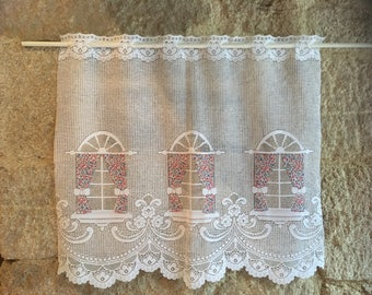 French lace cafe curtain- pink window design