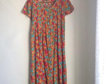 Floral Midi Dress 90s colorful sundress cotton lizsport medium