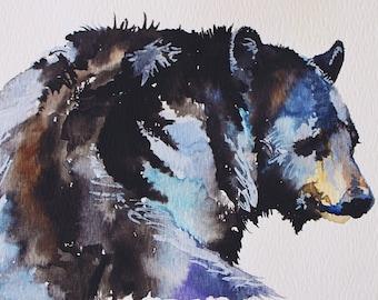 Watercolor Black Bear in the Sun - Giclee Print