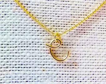 Cursive C Necklace, Letter C Necklace, Gold Initial Necklace, Cursive Letter Necklace, Letter Necklace, Initial Necklace, Wire Initial