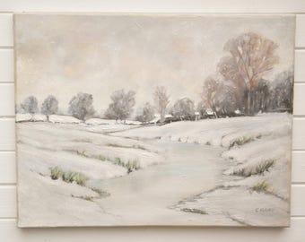 Original oil painting Vintage oil painting Snow scene painting Winter landscape oil painting Oil painting on canvas Winter Snow scene